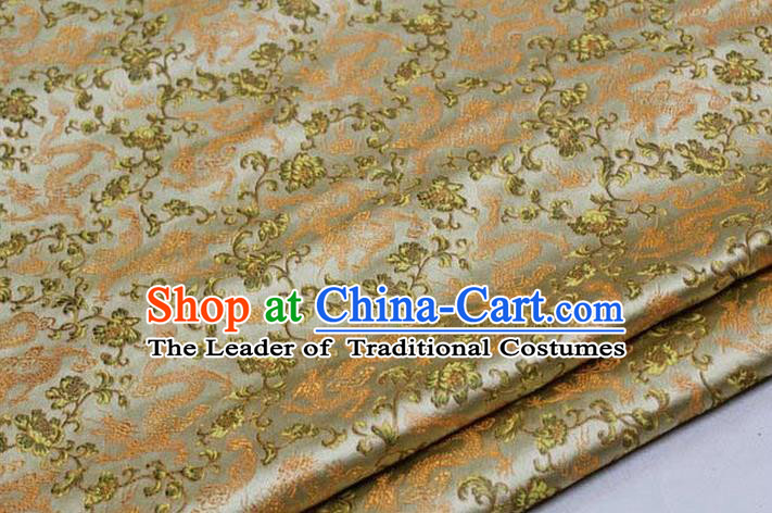 Chinese Traditional Royal Palace Dragons Pattern Tang Suit Golden Brocade Fabric, Chinese Ancient Costume Satin Hanfu Mongolian Robe Material