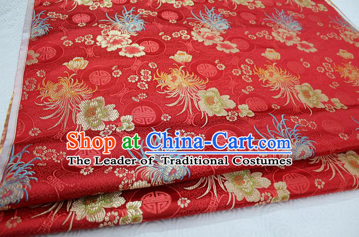 Chinese Traditional Royal Palace Longevity Chrysanthemum Pattern Tang Suit Cheongsam Red Brocade Fabric, Chinese Ancient Costume Hanfu Material