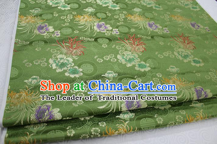 Chinese Traditional Royal Palace Longevity Chrysanthemum Pattern Tang Suit Cheongsam Green Brocade Fabric, Chinese Ancient Costume Hanfu Material