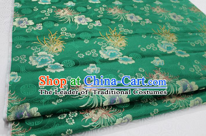 Chinese Traditional Royal Palace Longevity Chrysanthemum Pattern Tang Suit Cheongsam Deep Green Brocade Fabric, Chinese Ancient Costume Hanfu Material
