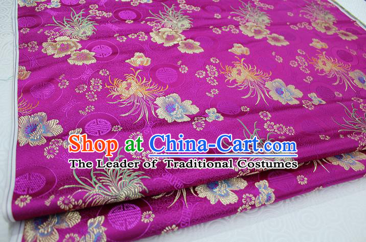 Chinese Traditional Royal Palace Longevity Chrysanthemum Pattern Tang Suit Cheongsam Rosy Brocade Fabric, Chinese Ancient Costume Hanfu Material