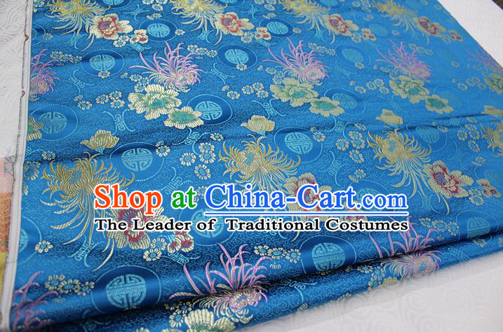 Chinese Traditional Royal Palace Longevity Chrysanthemum Pattern Tang Suit Cheongsam Blue Brocade Fabric, Chinese Ancient Costume Hanfu Material