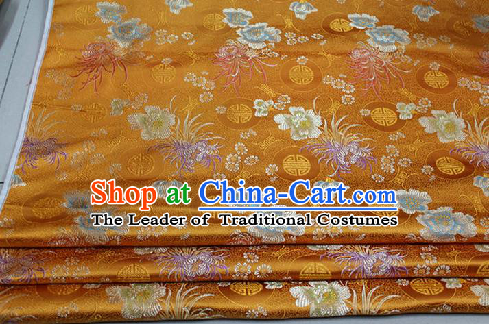Chinese Traditional Royal Palace Longevity Chrysanthemum Pattern Tang Suit Cheongsam Yellow Brocade Fabric, Chinese Ancient Costume Hanfu Material