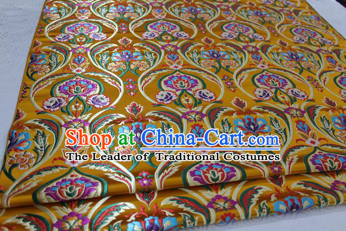 Chinese Traditional Royal Palace Flowers Pattern Golden Nanjing Brocade Mongolian Robe Fabric, Chinese Ancient Costume Satin Hanfu Tang Suit Material