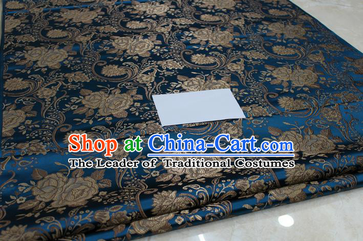 Chinese Traditional Royal Palace Rose Pattern Peacock Blue Brocade Mongolian Robe Fabric, Chinese Ancient Costume Satin Hanfu Tang Suit Material