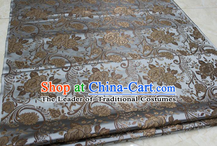 Chinese Traditional Royal Palace Rose Pattern Grey Brocade Mongolian Robe Fabric, Chinese Ancient Costume Satin Hanfu Tang Suit Material