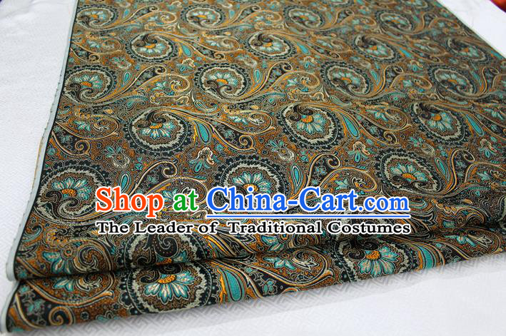Chinese Traditional Ancient Costume Palace Pteris Pattern Mongolian Robe Black Brocade Tang Suit Fabric Hanfu Material