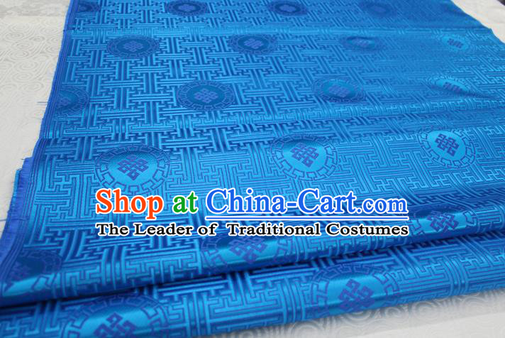Chinese Traditional Ancient Costume Palace Pattern Mongolian Robe Blue Brocade Tang Suit Fabric Hanfu Material