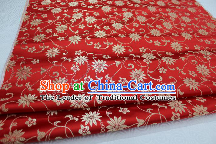 Chinese Traditional Ancient Costume Palace Lotus Flowers Pattern Cheongsam Red Brocade Tang Suit Fabric Hanfu Material