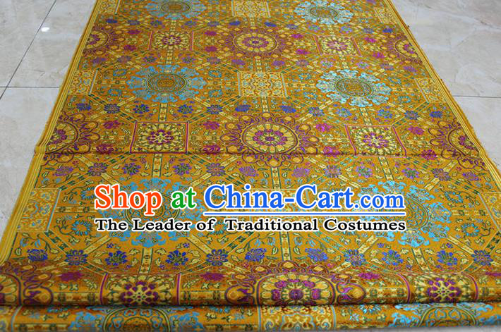 Chinese Traditional Ancient Costume Palace Flowers Pattern Tibetan Robe Yellow Brocade Tang Suit Fabric Hanfu Material