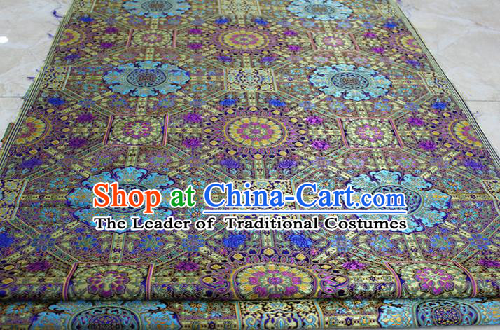 Chinese Traditional Ancient Costume Palace Flowers Pattern Tibetan Robe Blue Brocade Tang Suit Fabric Hanfu Material