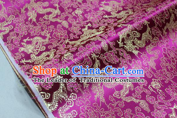 Chinese Traditional Ancient Costume Palace Dragons Pattern Mongolian Robe Rosy Brocade Tang Suit Fabric Hanfu Material