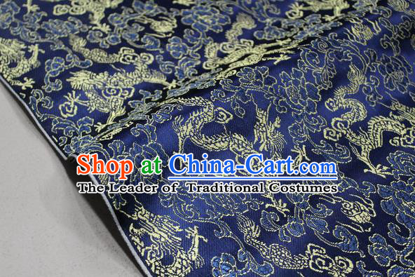 Chinese Traditional Ancient Costume Palace Dragons Pattern Mongolian Robe Deep Blue Brocade Tang Suit Fabric Hanfu Material