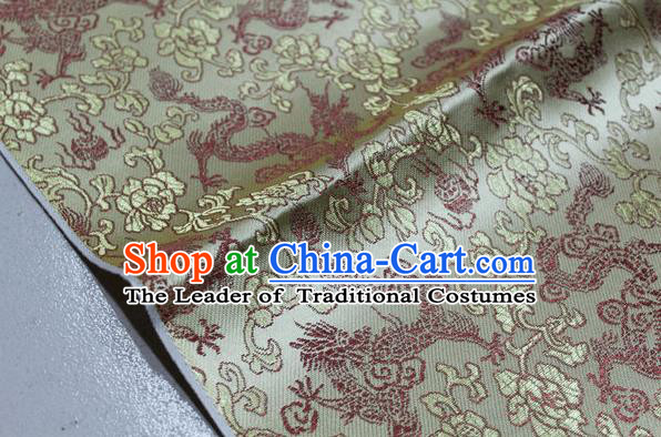 Chinese Traditional Ancient Costume Palace Dragons Pattern Mongolian Robe Light Golden Brocade Tang Suit Fabric Hanfu Material
