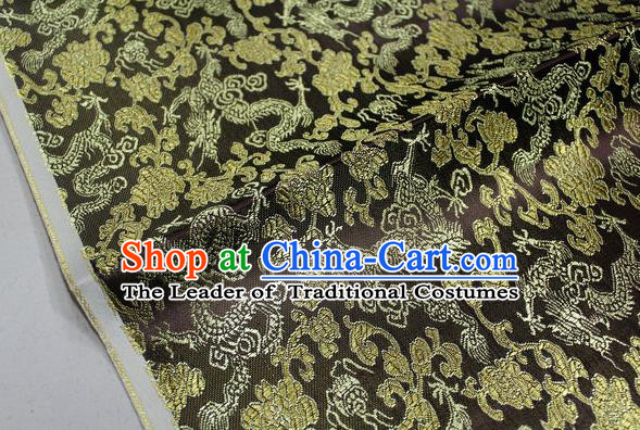 Chinese Traditional Ancient Costume Palace Dragons Pattern Mongolian Robe Deep Coffee Brocade Tang Suit Fabric Hanfu Material
