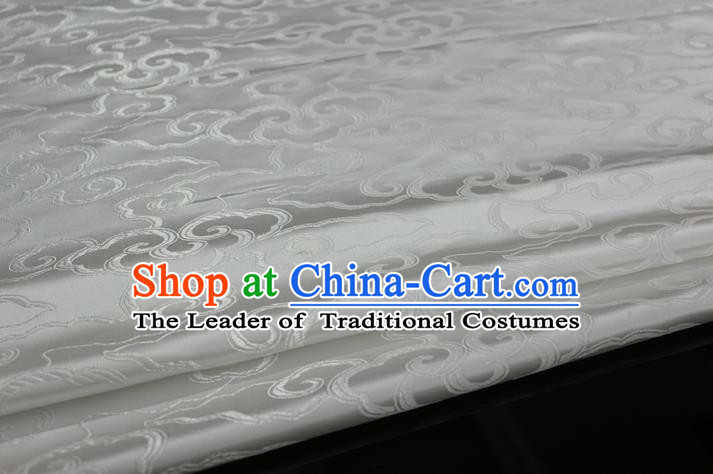 Chinese Traditional Ancient Costume Palace Auspicious Clouds Pattern Cheongsam Mongolian Robe White Brocade Tang Suit Fabric Hanfu Material