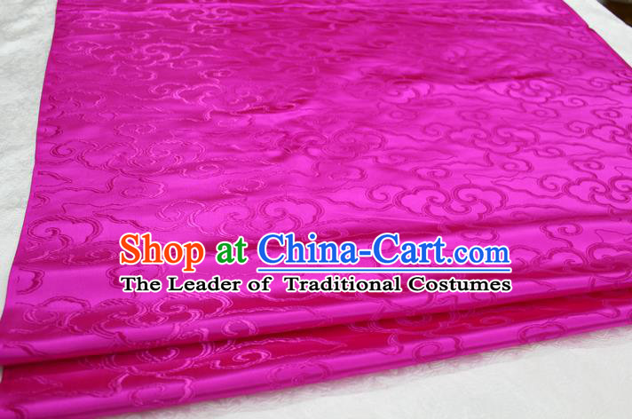 Chinese Traditional Ancient Costume Palace Auspicious Clouds Pattern Cheongsam Mongolian Robe Rosy Brocade Tang Suit Fabric Hanfu Material