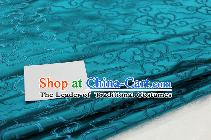 Chinese Traditional Ancient Costume Palace Auspicious Clouds Pattern Cheongsam Mongolian Robe Peacock Blue Brocade Tang Suit Fabric Hanfu Material