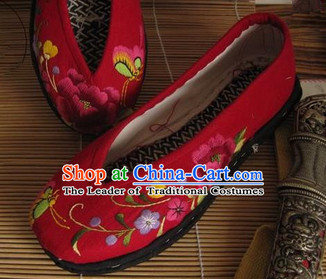 Traditional Chinese Ancient Princess Shoes Red Cloth Embroidered Shoes, China Handmade Embroidery Flowers Hanfu Shoes for Women