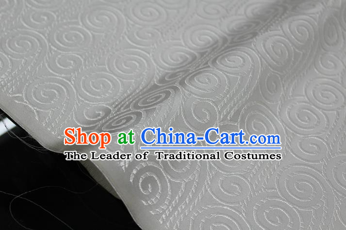 Chinese Traditional Palace Auspicious Clouds Pattern Tang Suit Mongolian Robe White Brocade Fabric, Chinese Ancient Costume Hanfu Material