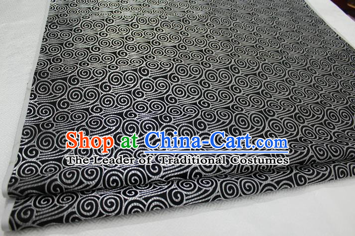 Chinese Traditional Palace Auspicious Clouds Pattern Tang Suit Mongolian Robe Black Brocade Fabric, Chinese Ancient Costume Hanfu Material