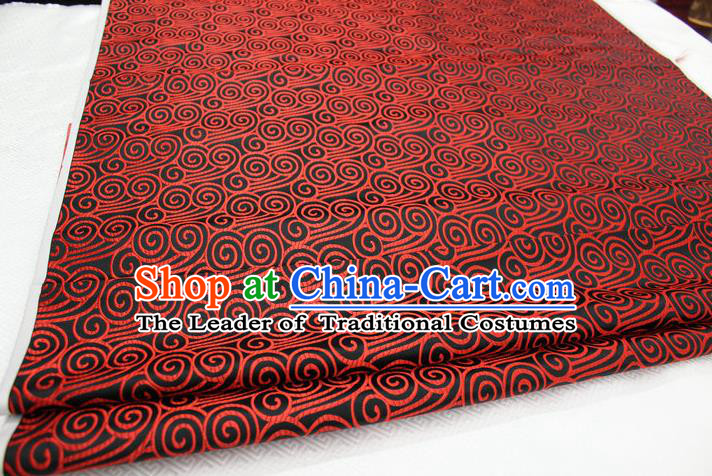 Chinese Traditional Palace Red Auspicious Clouds Pattern Tang Suit Mongolian Robe Black Brocade Fabric, Chinese Ancient Costume Hanfu Material
