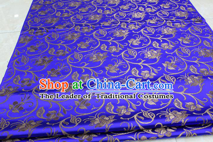 Chinese Traditional Palace Pattern Tang Suit Cheongsam Royalblue Brocade Fabric, Chinese Ancient Costume Hanfu Mongolian Robe Material