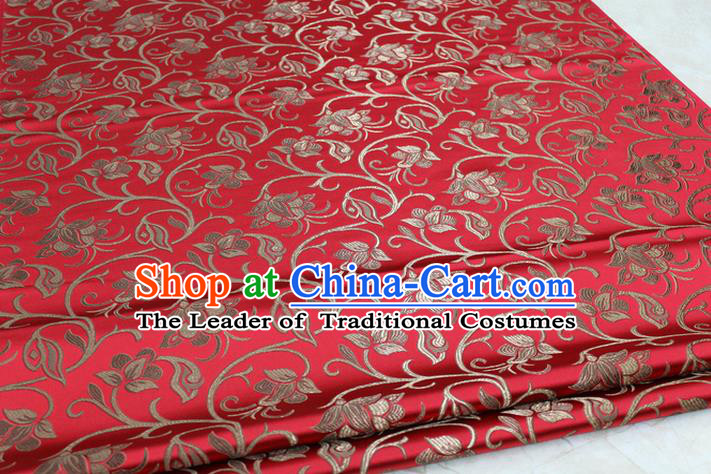 Chinese Traditional Palace Pattern Tang Suit Cheongsam Red Brocade Fabric, Chinese Ancient Costume Hanfu Mongolian Robe Material
