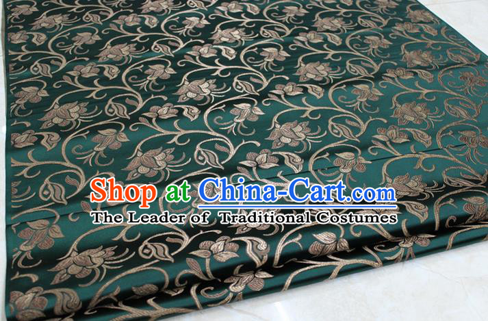 Chinese Traditional Palace Pattern Tang Suit Cheongsam Atrovirens Brocade Fabric, Chinese Ancient Costume Hanfu Mongolian Robe Material