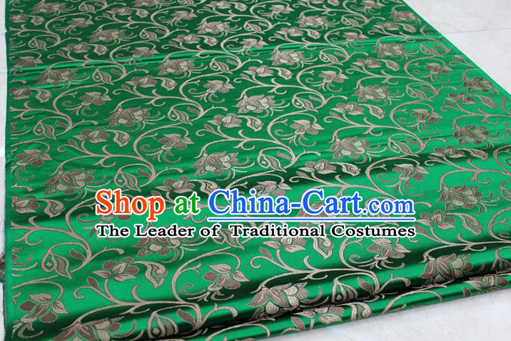 Chinese Traditional Palace Pattern Tang Suit Cheongsam Green Brocade Fabric, Chinese Ancient Costume Hanfu Mongolian Robe Material