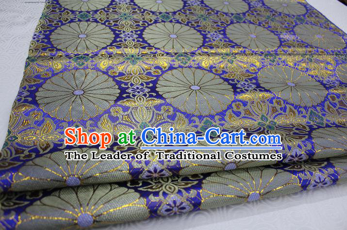 Chinese Traditional Palace Pattern Tang Suit Cheongsam Kimono Royalblue Brocade Fabric, Chinese Ancient Costume Hanfu Satin Material