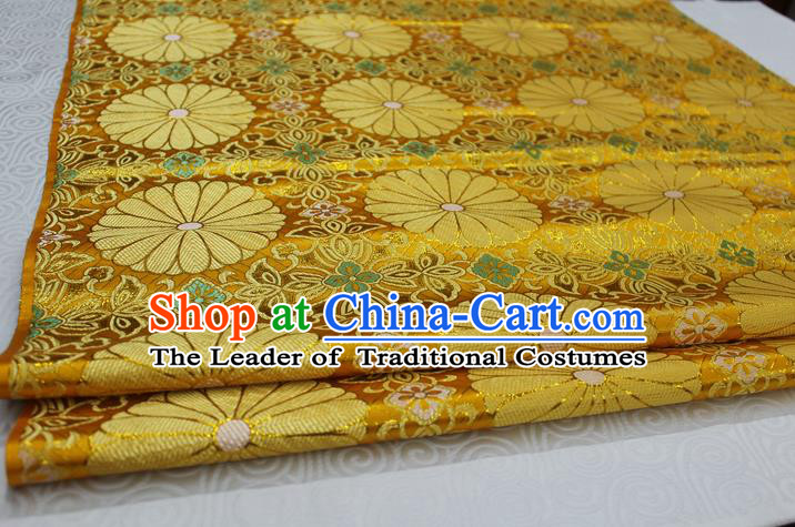 Chinese Traditional Palace Pattern Tang Suit Cheongsam Kimono Golden Brocade Fabric, Chinese Ancient Costume Hanfu Satin Material