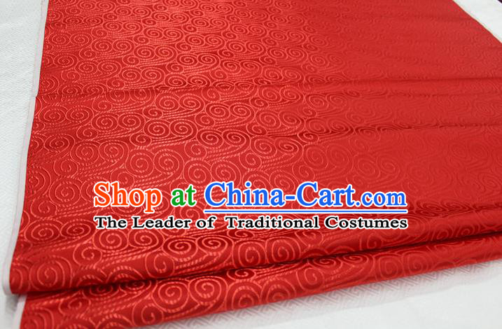 Chinese Traditional Palace Auspicious Clouds Pattern Tang Suit Mongolian Robe Red Brocade Fabric, Chinese Ancient Costume Hanfu Material