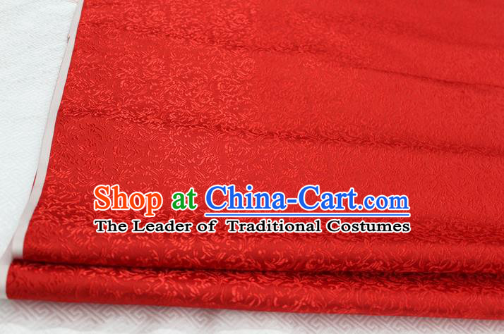Chinese Traditional Palace Pattern Tang Suit Cheongsam Red Brocade Fabric, Chinese Ancient Costume Hanfu Satin Material