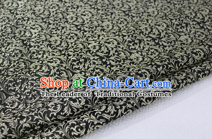 Chinese Traditional Palace Golden Pattern Tang Suit Cheongsam Black Brocade Fabric, Chinese Ancient Costume Hanfu Satin Material
