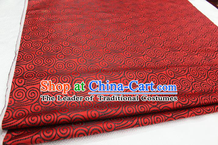 Chinese Traditional Palace Black Auspicious Clouds Pattern Tang Suit Mongolian Robe Red Brocade Fabric, Chinese Ancient Costume Hanfu Material
