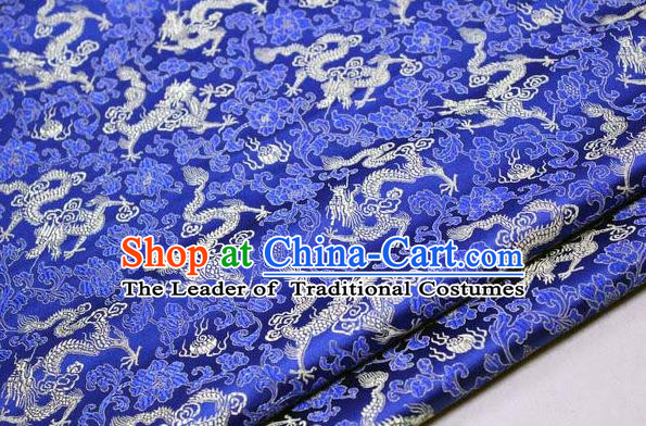 Chinese Traditional Palace Dragons Pattern Cheongsam Royalblue Brocade Fabric, Chinese Ancient Costume Tang Suit Hanfu Satin Material