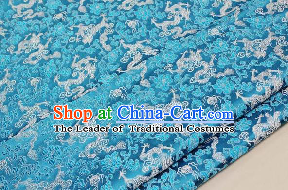 Chinese Traditional Palace Dragons Pattern Cheongsam Light Blue Brocade Fabric, Chinese Ancient Costume Tang Suit Hanfu Satin Material