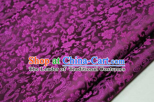 Chinese Traditional Palace Dragons Pattern Cheongsam Amaranth Brocade Fabric, Chinese Ancient Costume Tang Suit Hanfu Satin Material