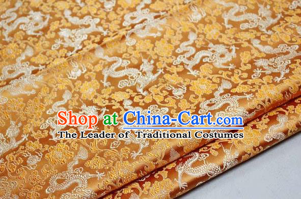 Chinese Traditional Palace Dragons Pattern Cheongsam Golden Brocade Fabric, Chinese Ancient Costume Tang Suit Hanfu Satin Material