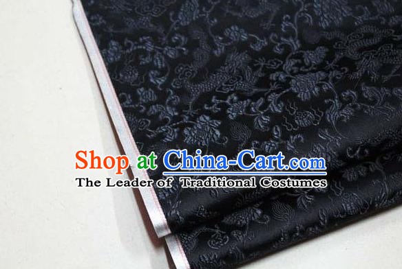Chinese Traditional Palace Dragons Pattern Cheongsam Black Brocade Fabric, Chinese Ancient Costume Tang Suit Hanfu Satin Material