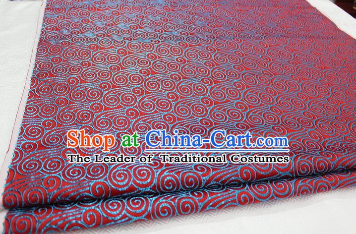 Chinese Traditional Palace Blue Auspicious Clouds Pattern Tang Suit Mongolian Robe Red Brocade Fabric, Chinese Ancient Costume Hanfu Material