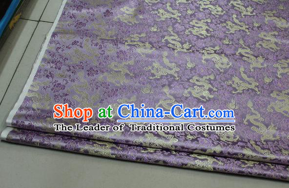 Chinese Traditional Palace Dragons Pattern Cheongsam Lilac Brocade Fabric, Chinese Ancient Costume Tang Suit Hanfu Satin Material