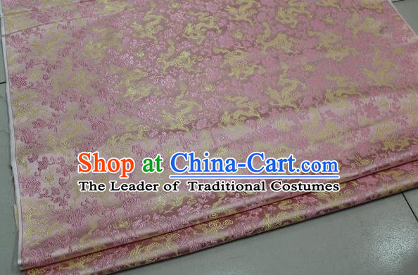 Chinese Traditional Palace Dragons Pattern Cheongsam Pink Brocade Fabric, Chinese Ancient Costume Tang Suit Hanfu Satin Material