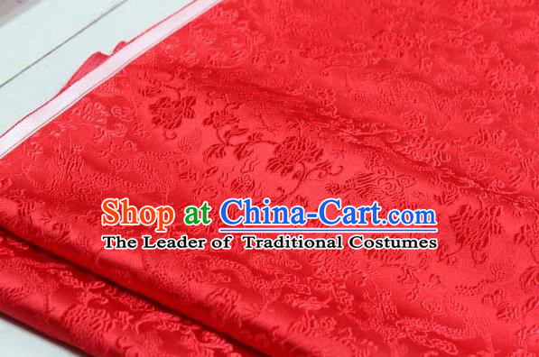 Chinese Traditional Palace Dragons Pattern Cheongsam Red Brocade Fabric, Chinese Ancient Costume Tang Suit Hanfu Satin Material
