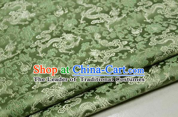 Chinese Traditional Palace Dragons Pattern Cheongsam Green Brocade Fabric, Chinese Ancient Costume Tang Suit Hanfu Satin Material