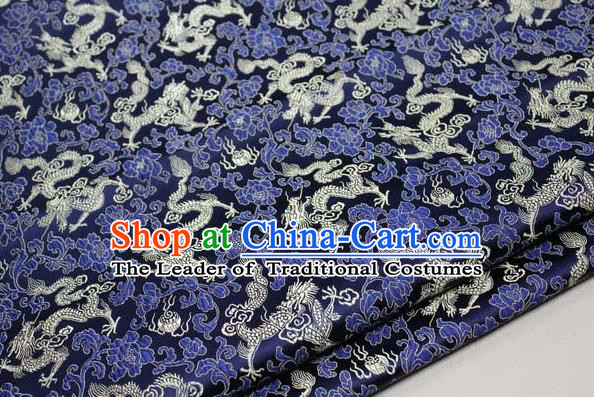 Chinese Traditional Palace Dragons Pattern Cheongsam Navy Brocade Fabric, Chinese Ancient Costume Tang Suit Hanfu Satin Material