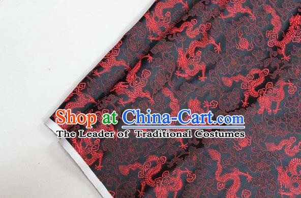 Chinese Traditional Palace Red Dragons Pattern Cheongsam Black Brocade Fabric, Chinese Ancient Costume Tang Suit Hanfu Satin Material