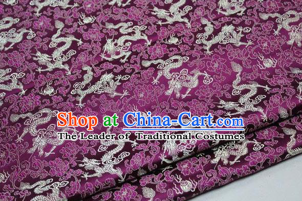 Chinese Traditional Palace Golden Dragons Pattern Cheongsam Purple Brocade Fabric, Chinese Ancient Costume Tang Suit Hanfu Satin Material