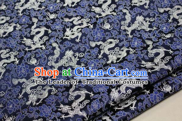 Chinese Traditional Palace White Dragons Pattern Cheongsam Navy Brocade Fabric, Chinese Ancient Costume Tang Suit Hanfu Satin Material